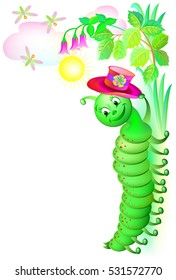 Illustration of fantasy cheerful caterpillar with a hat. Vector cartoon image.