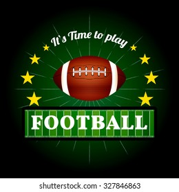 Illustration of Fantasy Football emblem and badges with American football ball and football field.  Vector EPS 10
