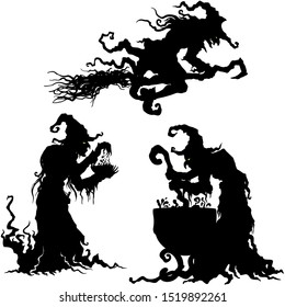 Illustration fantasy grotesque witch women silhouettes