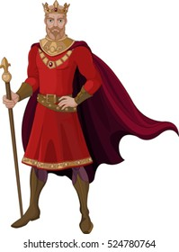Illustration of fantasy king in red