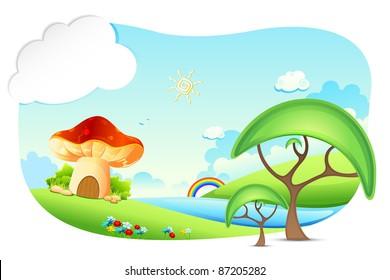 illustration of fantasy landscape with mushroom home