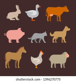 illustration of the farm animals icon set