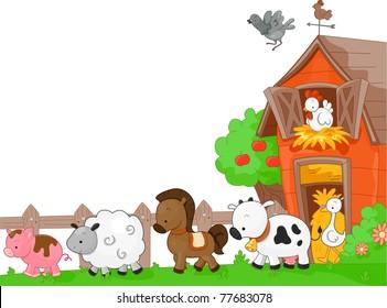 Illustration of Farm Animals walking to the left