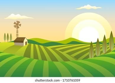 illustration farm background, hill farm and Sunshine, eps vector