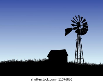 Illustration of a Farm House and Windmill Silhouette.