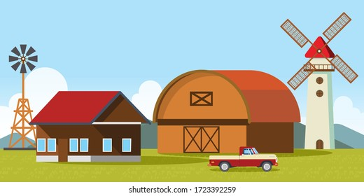 illustration of Farm Landscape. A composition with a barn, windmill. Flat style vector illustration.