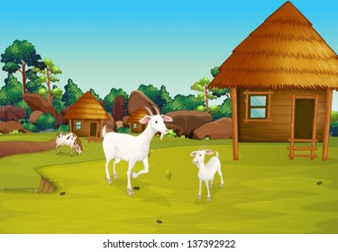 Illustration of a farm with nipa huts