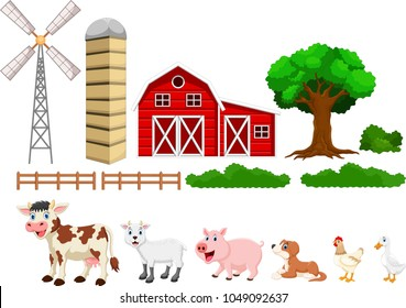 Illustration of farm set isolated on white background