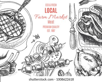 Illustration, a farm store of fresh meat and poultry.
