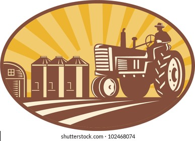Illustration of a farmer driving a vintage farm tractor with barn and silos in background done in retro woodcut style.