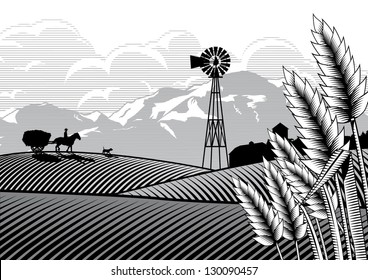 Illustration of a farmer and horse with a bullock cart carrying hay at rice filed, vector