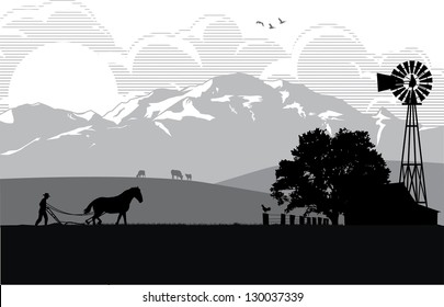Illustration of a farmer plowing rice field at sunrise, vector