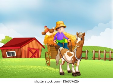 Illustration of a farmer riding in a carriage