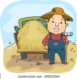 Illustration of a Farmer Standing Beside a Truckload of Hay