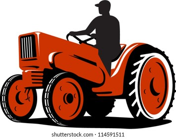 Illustration of a farmer tractor driving vintage tractor on isolated background done in retro style