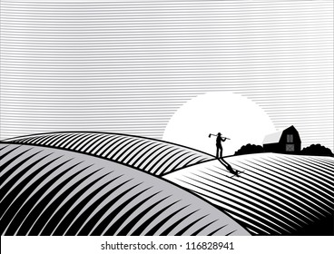 Illustration of a Farmer walking at sunset in woodcut style