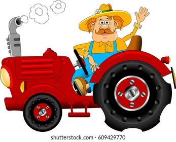 Illustration of a farmer worker driving a vintage tractor on isolated background done in cartoon style