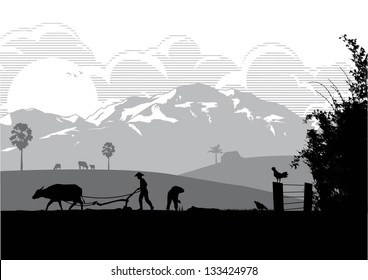 Illustration of farmers are plowing with buffalo and  planting rice in the farm at sunset, vector