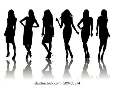 Illustration of fashion female silhouette set isolated