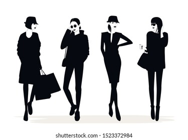 Illustration of Fashion stylish women silhouetts. Vector