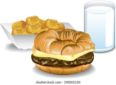Illustration of a fast food breakfast with a croissant sandwich, tater tots and milk