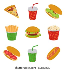 illustration of fast food: pizza, hamburger, sandwich, hot dog, popcorn, french fries, drink