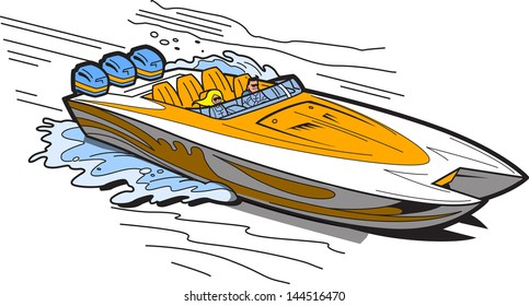 Illustration of a Fast Speedboat on the Water