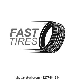 Illustration fast tires in black color logo concept design template idea