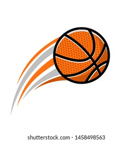 illustration of a fast-moving basketball ball. Icon of a basketball ball with flames and the impression of speed. Graphic resources elements of basketball games.