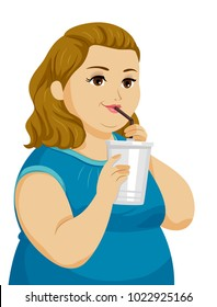Illustration of a Fat Girl Drinking Soda or Juice in a Plastic Cup Through a Straw