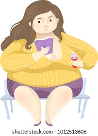 Illustration of a Fat Girl Sitting on the Bench Reading a Book and Drinking Soda