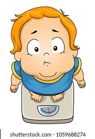 Illustration of a Fat Kid Boy Looking Up While Standing on a Weighing Scale