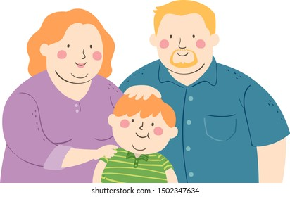 Illustration of a Fat Kid Boy with Mother and Father