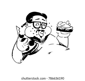 Illustration of a fat man indulging in fast food.
