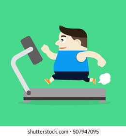 The Illustration of a fat man is running on the treadmill to lose weight by running. Vector illustration flat style.