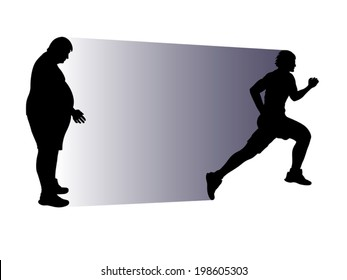 illustration of fat person and running athlete in  silhouette