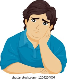 Illustration of a Fat Teenage Guy with Hand on Face Feeling Sad or Depressed