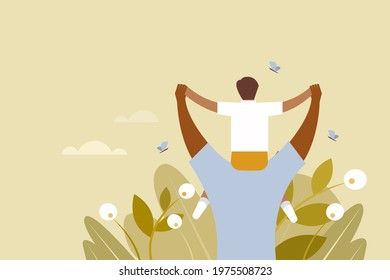 Illustration of a father carries his son on the shoulder. Concept for father's day