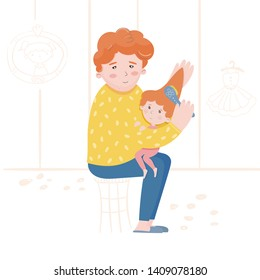 Illustration of a father combing his daughters hair. Caring for a child. Single father. Incomplete family. Happy together. Family relationships. Children's illustration for the book.