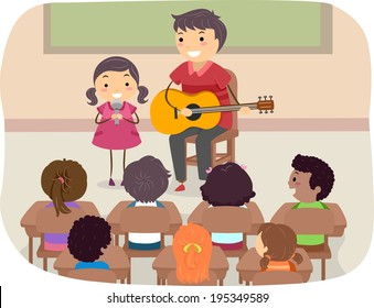 Illustration of a Father and Daughter Performing in Front of the Class