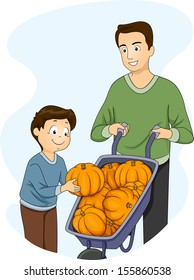 Illustration of a Father and Son Checking a Wheelbarrow Full of Pumpkins