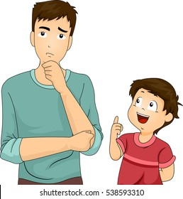 Illustration of a Father Thinking Hard After His Son Asked Him a Question