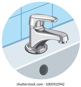 illustration of faucet and sink in bathroom