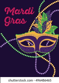 Illustration of a feathered mask and coloured beads for a masquerade ball or Mardi Gras celebrations. The mardi gras mask is in green, purple and gold/yellow colors.