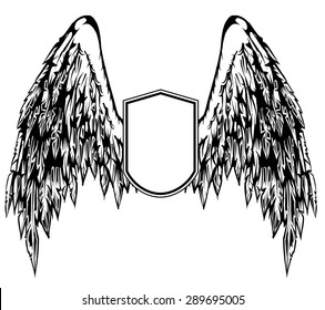 Illustration of feathered wings on a shield