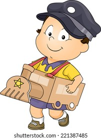 Illustration Featuring a Baby Boy Wearing a Makeshift Train Costume
