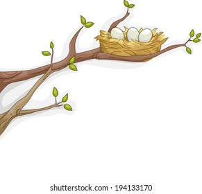 Illustration Featuring a Bird's Nest Resting on a Tree Branch