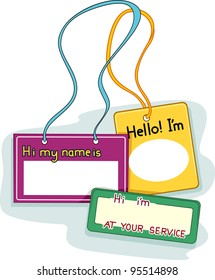 Illustration Featuring Blank Name Tags