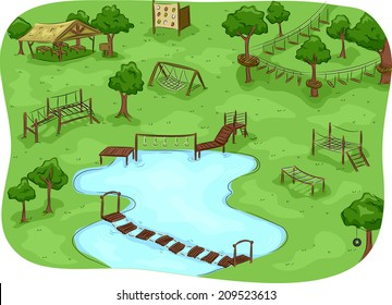 Illustration Featuring a Camp with an Obstacle Course