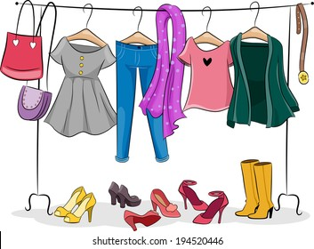 Illustration Featuring a Clothing Rack Full of Female Clothing